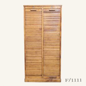 Vintage Oak Tambour Storage Unit