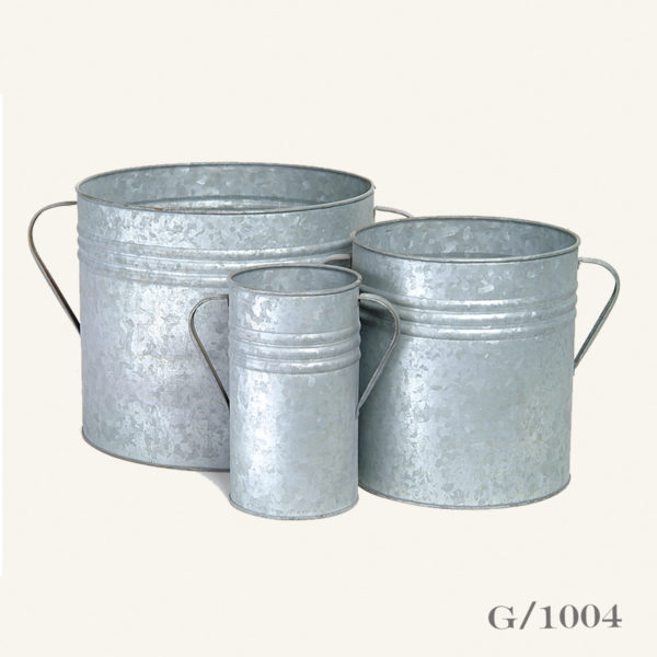Set 3 Galvanised Zinc Planters