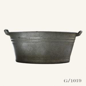 Vintagte Galvanised Zinc Oval Planter