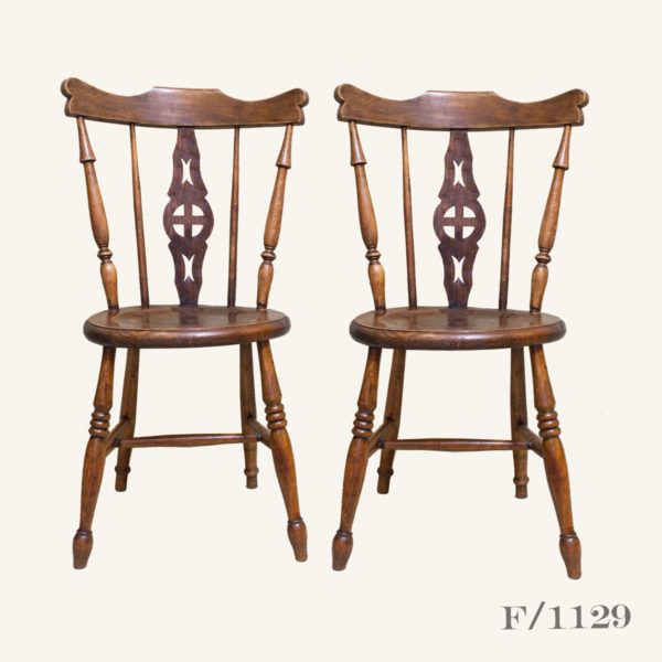 Pair Vintage Wooden Dining Chairs