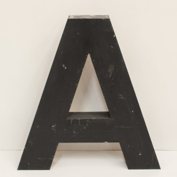 Large Reclaimed Black Metal Letter A