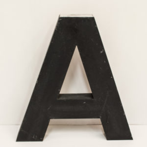Large Reclaimed Black Metal Letter A