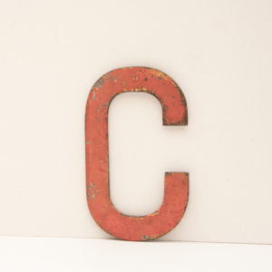 Reclaimed Pink Metal Letter C
