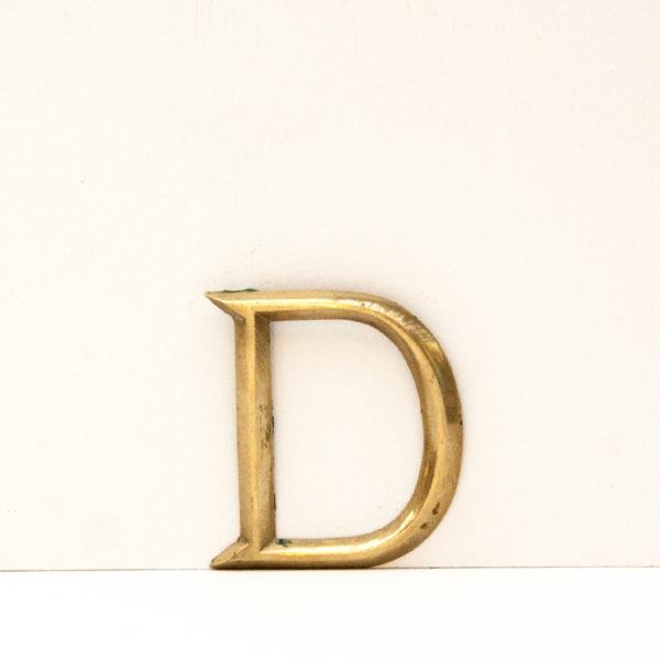 Reclaimed Small Brass Letter D