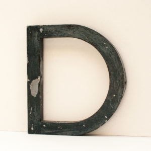 Recklaimed Distressed Black Metal Letter C