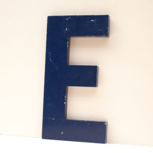Reclaimed Blue Metal Letter E