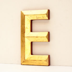 Reclaimed Gold Resin Pub Letter E