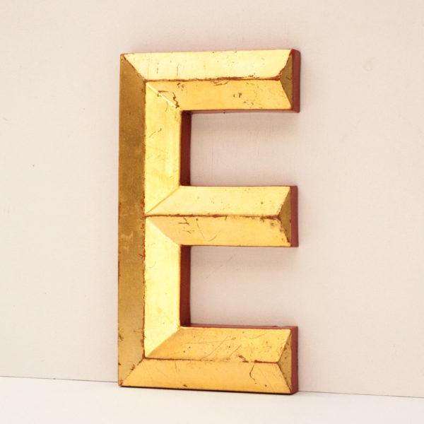 Reclaimed Gold Resin Pub Letter E