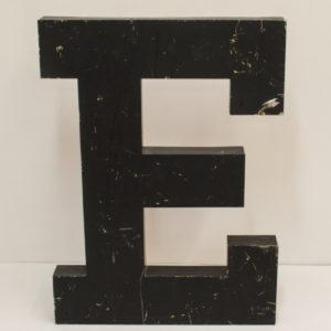 Large Reclaimed Black Metal Letter E
