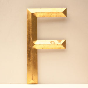 Large Reclaimed Gilt Resin Letter F