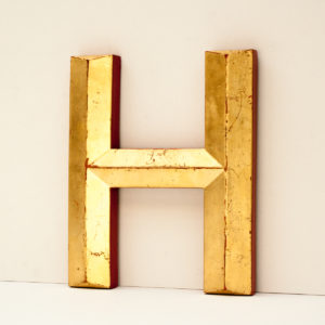 Gold Resin Reclaimed Pub Letter H