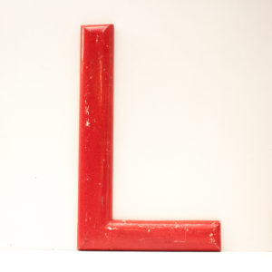 Large Reclaimed Red Wooden Fairground Letter L