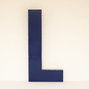 reclaimed Blue Metal Letter L