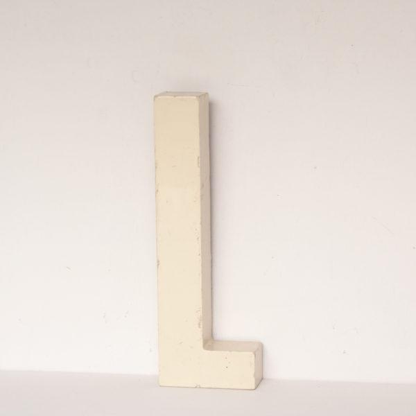 Small Reclaimed White Resin Letter L