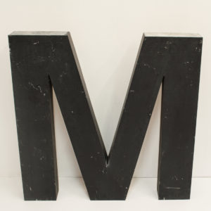 Large Reclaimed Black Metal Letter M