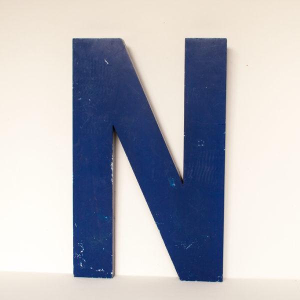Reclaimed Blue Metal Letter N