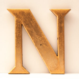 Large Reclaimed Gilt Resin Letter N