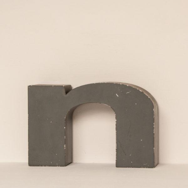 Reclaimed Grey Metal Letter N