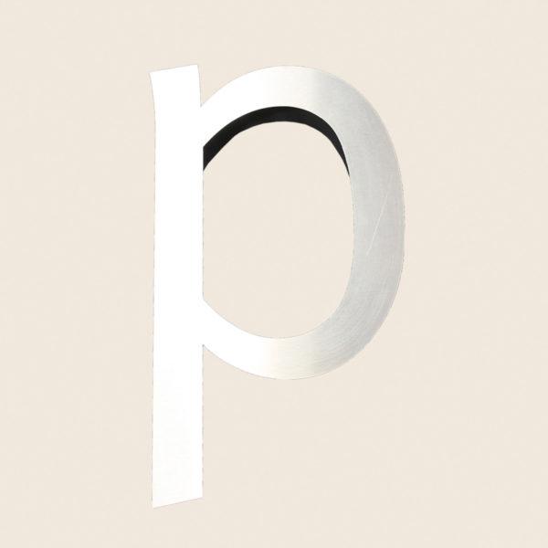 Reclaimed Brushed Metal Letter P
