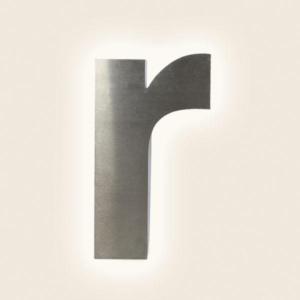 Reclaimed Brushed Metal Letter Light R