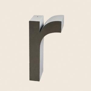 Reclaimed Brushed Metal Letter R
