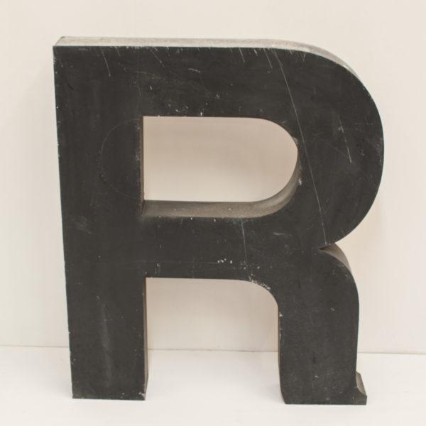 Large Reclaimed Black Metal Letter R