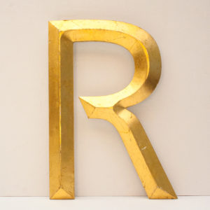 Large Reclaimed Gilt Letter R