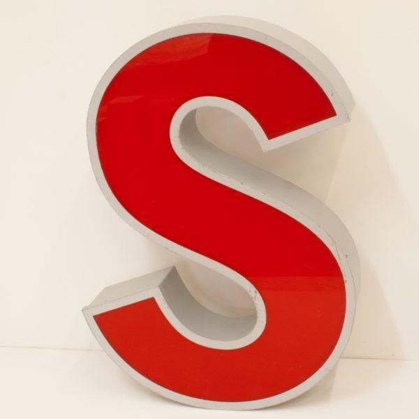 Large Reclaimed Red Letter Light S
