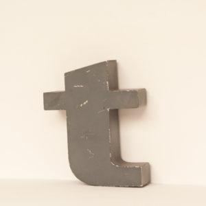 Reclaimed Grey Metal Letter T
