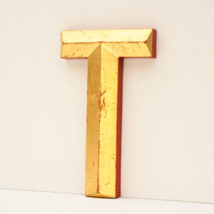 Reclaimed Gilt Resin Pub Letter T