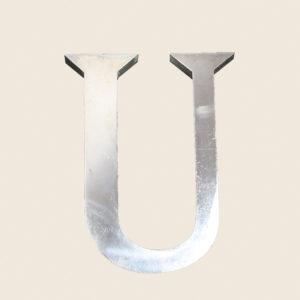 Reclaimed Polished Metal Letter U
