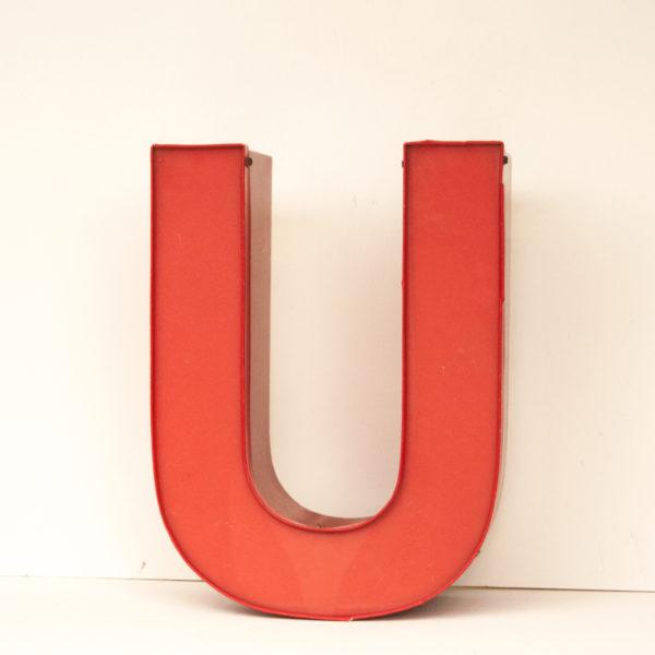 Reclaimed Red Letter Light U