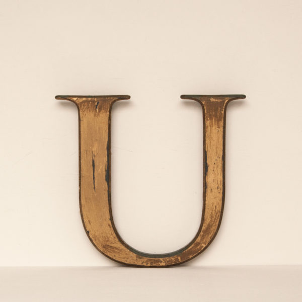 Reclaimed Distressed Gold Resin Letter U