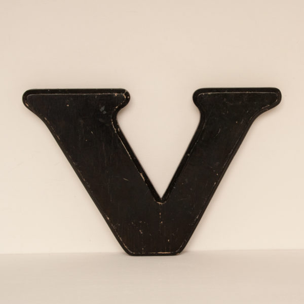 Reclaimed Black Resin Letter V