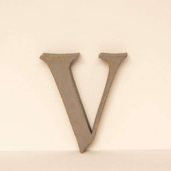 Reclaimed Grey Resin Letter V