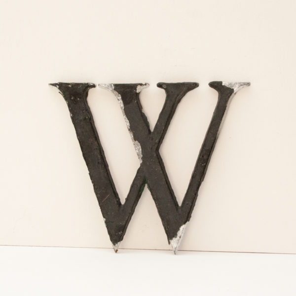 Reclaimed Small Black Metal Letter W