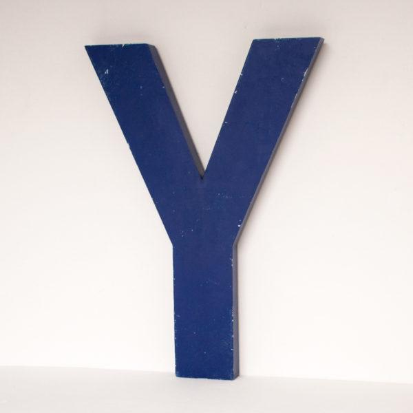 Reclaimed Blue Metal Letter Y