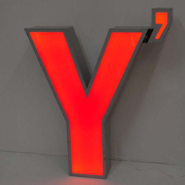 Large Reclaimed Red Letter Light Y
