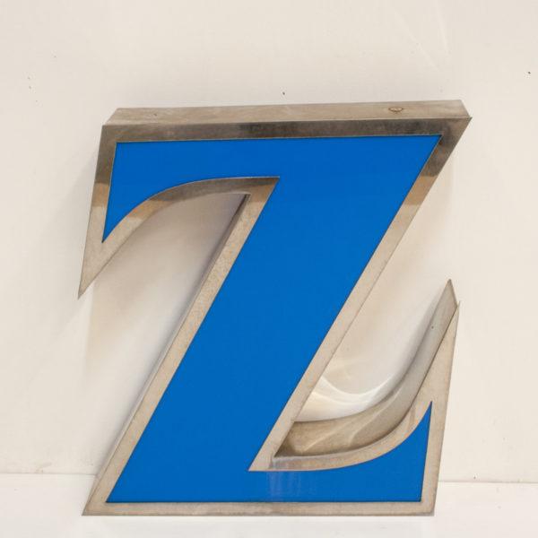 Reclaimed Blue Letter Light Z