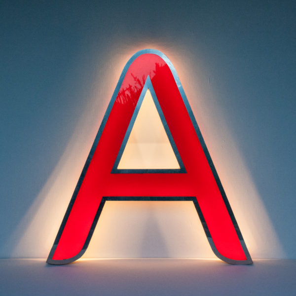 Reclaimed Red Letter Light A
