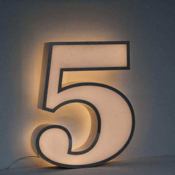 Reclaimed White Number Five Light