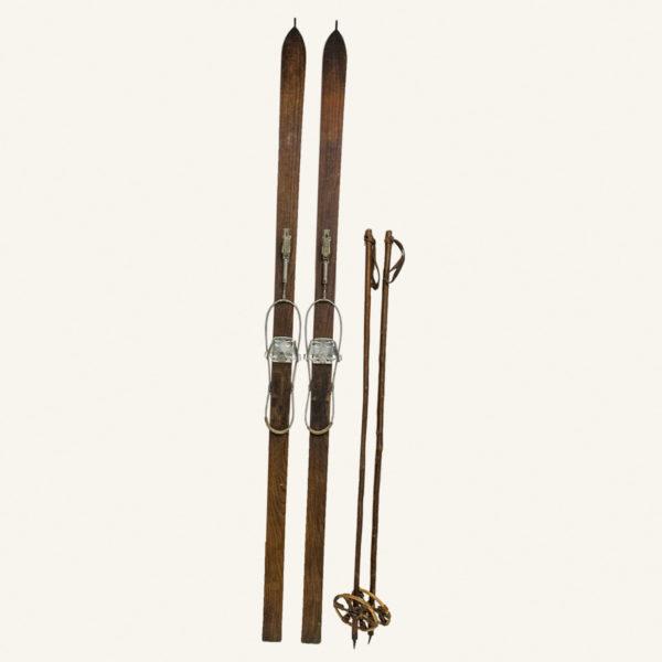 Vintage Wooden Skis and Ski Poles