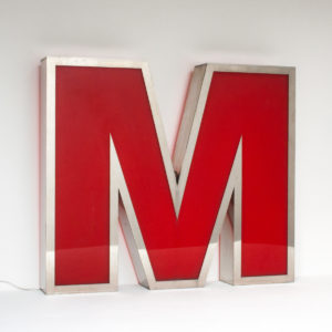Large Reclaimed Red Letter Light M