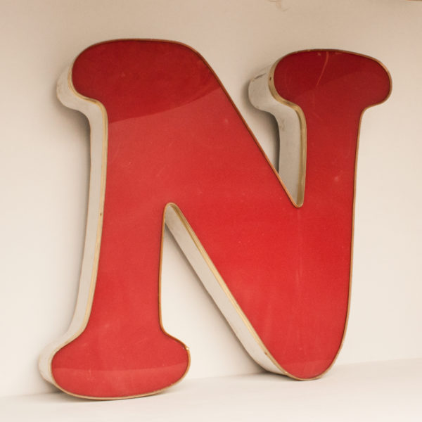 Large Reclaimed Red Letter Light N