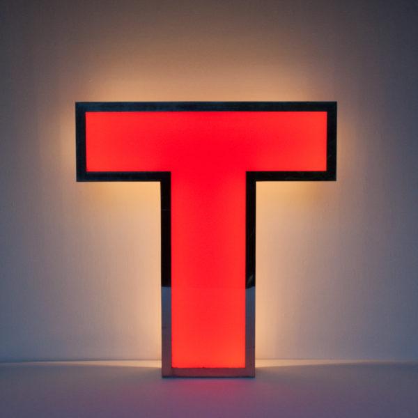 Large Reclaimed Red Letter Light M
