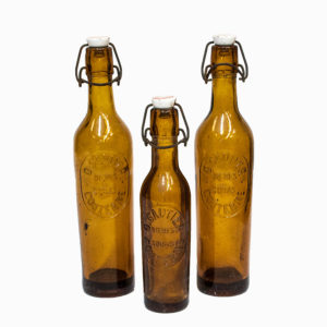 Set 3 Vintage French Beer Bottles