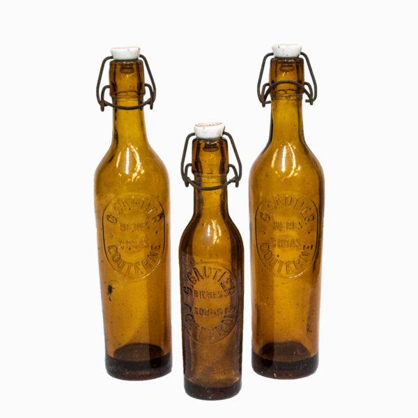 Set 3 Vintage French Beer Bottles
