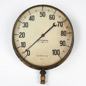 Large Vintage Brass Pressure Gauge