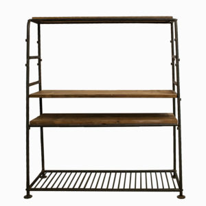 Vintage Industrial Metal & Wood Storage Unit