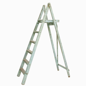 Vintage Light Green Wooden Ladders